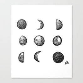 Phases of the Moon // Lunar Cycle Canvas Print