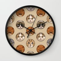 polka Wall Clocks featuring Polka Meaw by Huebucket