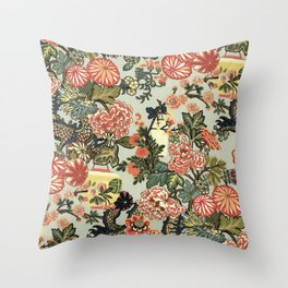 Chinese Dragon Vintage Floral Pattern Throw Pillow