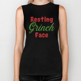 Resting Grinch Face - Christmas Xmas festive design Biker Tank