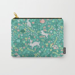 Spring Pattern of Bunnies with Turtles Carry-All Pouch