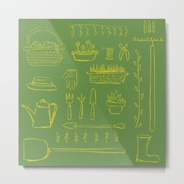 Gardening and Farming! - illustration pattern Metal Print