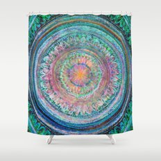 Pink and Turquoise Mandala Shower Curtain
