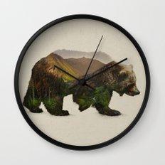North American Brown Bear Wall Clock