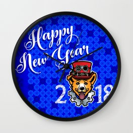 Happy New Year 2018 Yellow Dog Wall Clock