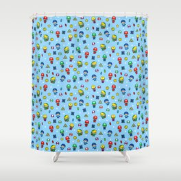 Cool Video Game 8-Bit Heroes Vintage Gamer Gaming Collection Shower Curtain