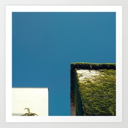 White Square, Green Square, Blue Sky Art Print