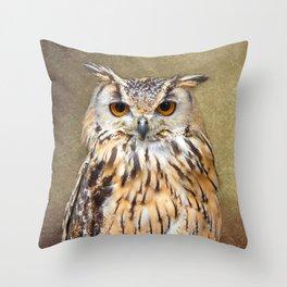 Indian Eagle Owl Throw Pillow
