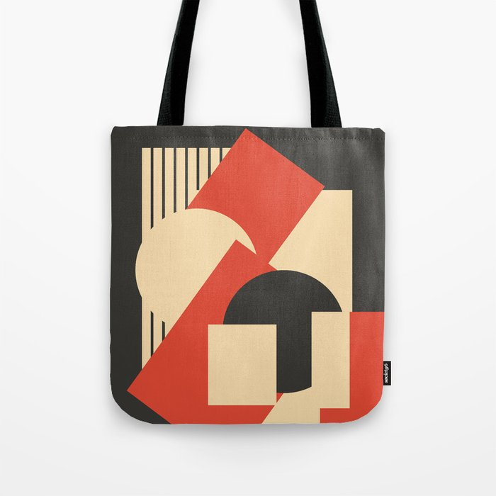 Geometrical abstract art deco mash-up scarlet beige Tote Bag