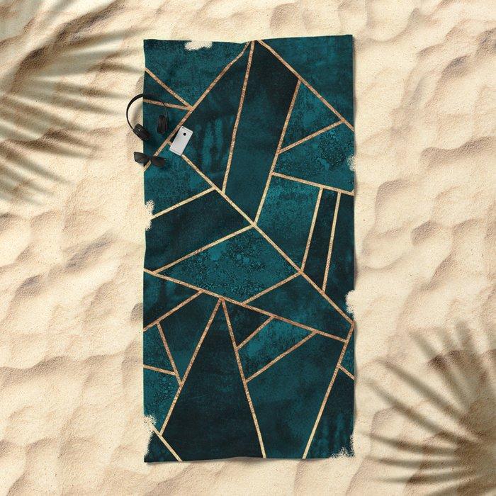 Deep Teal Stone Beach Towel