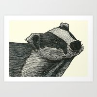 badger Art Prints featuring Badger by Jack Kershaw
