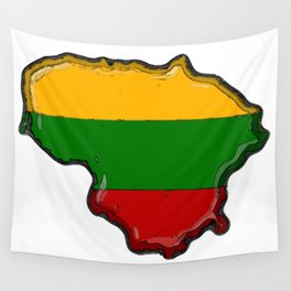 Lithuania Map with Lithuanian Flag Wall Tapestry