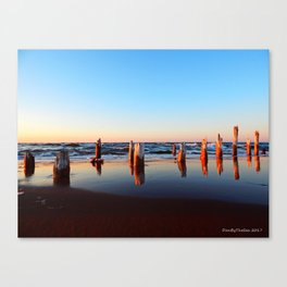 Reflected Remains on the Beach Canvas Print