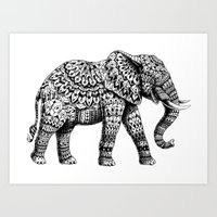 ornate elephant Art Prints featuring Ornate Elephant 3.0 by BIOWORKZ