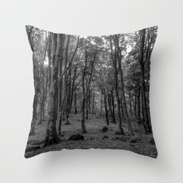 Black and White Soriano nel Cimino's Faggeta, Italy - Mount Cimino Faggeta Throw Pillow