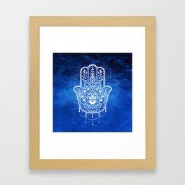 Blue Mandala Hamsa Framed Art Print