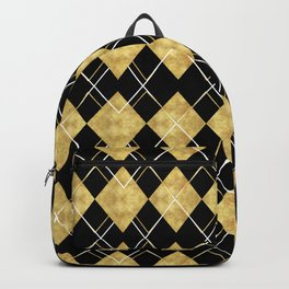Black and Gold Check Pattern Backpack