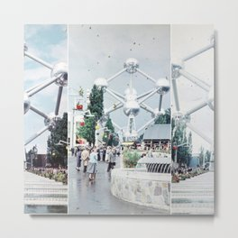 Brussels Atomium Photo Collage Metal Print
