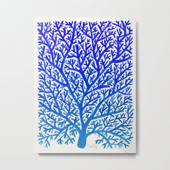 Fan Coral – Blue Ombré Metal Print