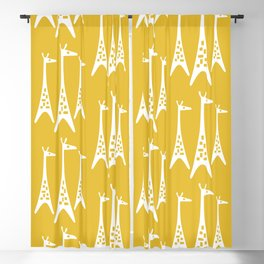 Mid Century Modern Giraffe Pattern 221 Mustard Yellow Blackout Curtain