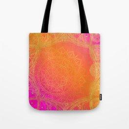 Fuchsia Pink Orange & Gold Indian Mandala Glam Tote Bag