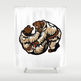 Two bears fighting. Karate Bear Shower Curtain