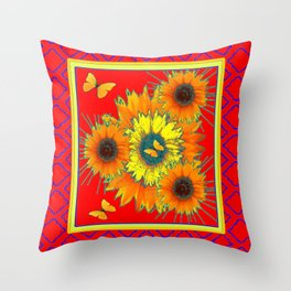 Contemporary Red Pattern Yellow Butterflies Cacti Flowers Throw Pillow