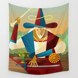 magician juggler with cup, wooden staff, sword and gold tarot card Wall Tapestry