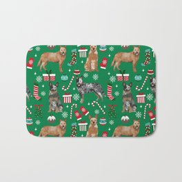 Austrian Cattle Dog red and blue merle christmas presents holiday dog breed pattern pet friendly Bath Mat