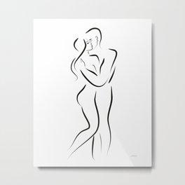 Lovers kiss line art. Metal Print