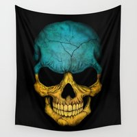 ukraine Wall Tapestries featuring Dark Skull with Flag of Ukraine by Jeff Bartels