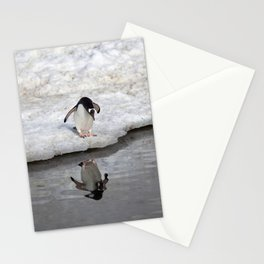 Penguin looking at him self Stationery Cards