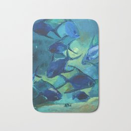 Covey blue fish Bath Mat