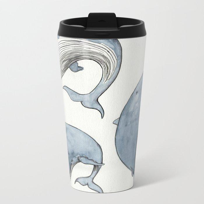 Dancing Whales Metal Travel Mug