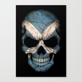 Dark Skull with Flag of Scotland Canvas Print