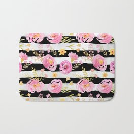 Delicate Poppy Pattern On Stripes Bath Mat