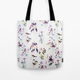 Vintage chic pink teal purple floral birds pattern Tote Bag