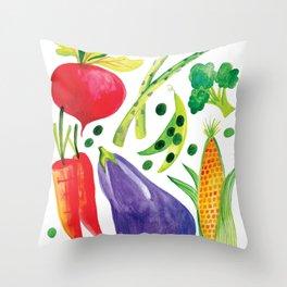 Veg Out - Vegetable, Veggies, Watercolor, Food, Beet, Carrot, Pea Throw Pillow