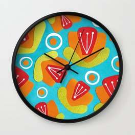 Orange Floral Wall Clock