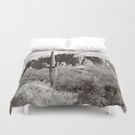 Saguaro in black and white Duvet Cover