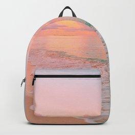 Beautiful: Aqua, Turquoise, Pink, Sunset Relaxing, Peaceful, Coastal Seashore Backpack