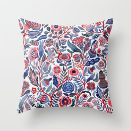Botanical in red and blue Throw Pillow
