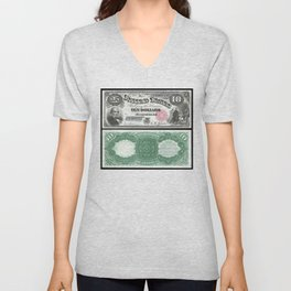 1880 Series U.S. Federal Reserve Ten Dollar Indian Princess Pocahontas being present to the royal E Unisex V-Neck