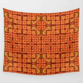 Lush Vibrant Orange Geometric Glow Quilt Print Wall Tapestry