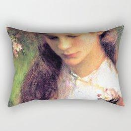 George Clausen - Apple blossom - Digital Remastered Edition Rectangular Pillow