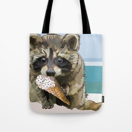 Raccoon Eating Ice-cream on the Beach | Summer Vacation | Cute Baby Animal Tote Bag