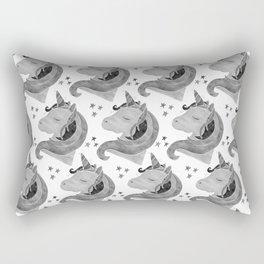 MAGICAL DREAMING UNICORN - BLACK AND WHITE Rectangular Pillow