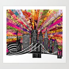 Linocut New York Blooming Art Print