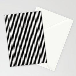 Skinny Stroke Vertical Off White on Black Stationery Cards