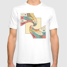 Geometric abstract SMALL Mens Fitted Tee White